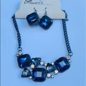 🎉Blue Slate Statement Necklace Earring Set